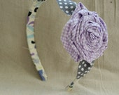 Girls' Fabric Flower Headband:  Lavender and Gray on Multi-Colored Band