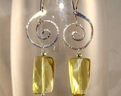 Lemon Quartz and Sterling Silver Swirl Earrings......