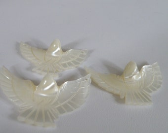 Mother of Pearl Hand Carved Dove Charm or Pendant - 1