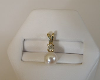 Incredible 14K Gold Pearl and Diamond Pendant - 6.5 mm pearl