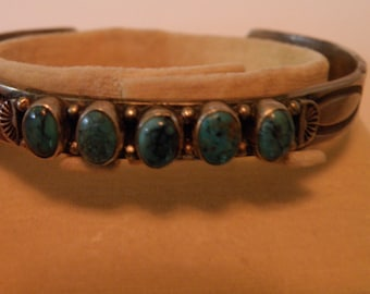 Native American Sterling Silver Turquoise Cuff - maker's mark TT