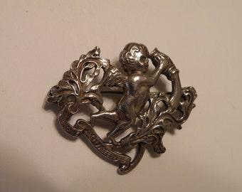 Art Noveau Cini Aquarius Sterling Silver Brooch