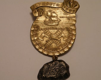 RARE 1909 Plymouth Massachusetts Fireman Convention Badge