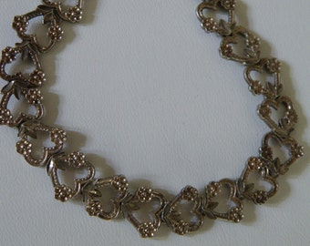 Sweet Sterling Silver Hearts and Flowers Bracelet - 925