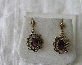 14K Gold Amethyst Earrings - marked 14K
