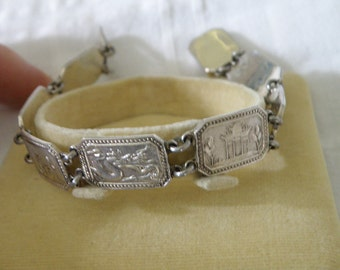 Vintage Sterling Silver Asian Bracelet - marked Silver