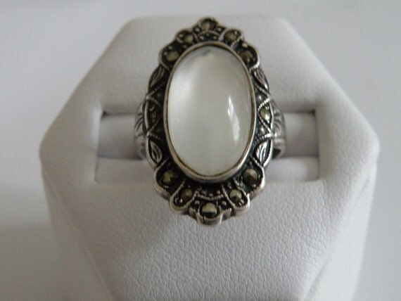 Sterling Silver Moonstone Marcasite Ring - Size 6 3/4 U.S.