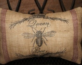 "French Burlap Pillow Cover of Queen Bee measuring approximately 15"" X 10"" Paris"