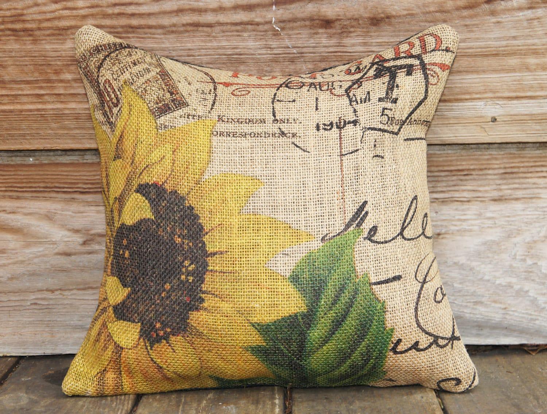 Sunflower Pillow Cover Burlap Pillow Cushion Throw Pillow