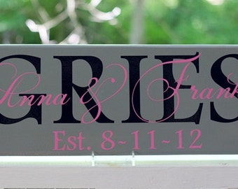 Personalized Wood Sign Wedding Gifts with Family Last Name and Established Date. Custom Colors Made for Wedding