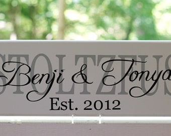Personalized Last Name Signs. Custom Wood Signs, Established Date. Great for Wedding Gifts, Bridal Shower or Anniversary