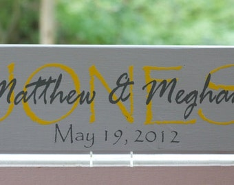 Personalized Family Name Sign. Last Name Wood Sign Established Date. Wedding Gifts, Bridal Shower or Anniversary Gifts