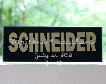 Personalized Family Name Sign. Custom Wood Sign with Established Date. Great Wedding Gifts, Bridal Shower or Anniversary