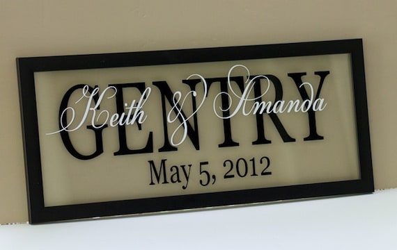 """Floating Clear Personalized Name Frame for Wedding or Anniversary 8 X 20"""""""