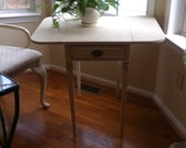 Vintage Painted Double Drop Leaf Side Table w/Drawer