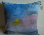 Hand painted abstract landscape home decor throw pillow.