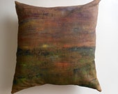 Rustic Hand Painted Throw Pillow - One of a kind - Abstract landscape home decor throw pillow.