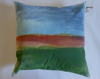 Throw Pillow - Hand painted abstract landscape home decor throw pillow.