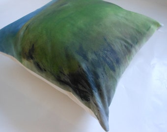 Decorative Pillow - One of a kind -  Hand painted abstract landscape home decor throw pillow.