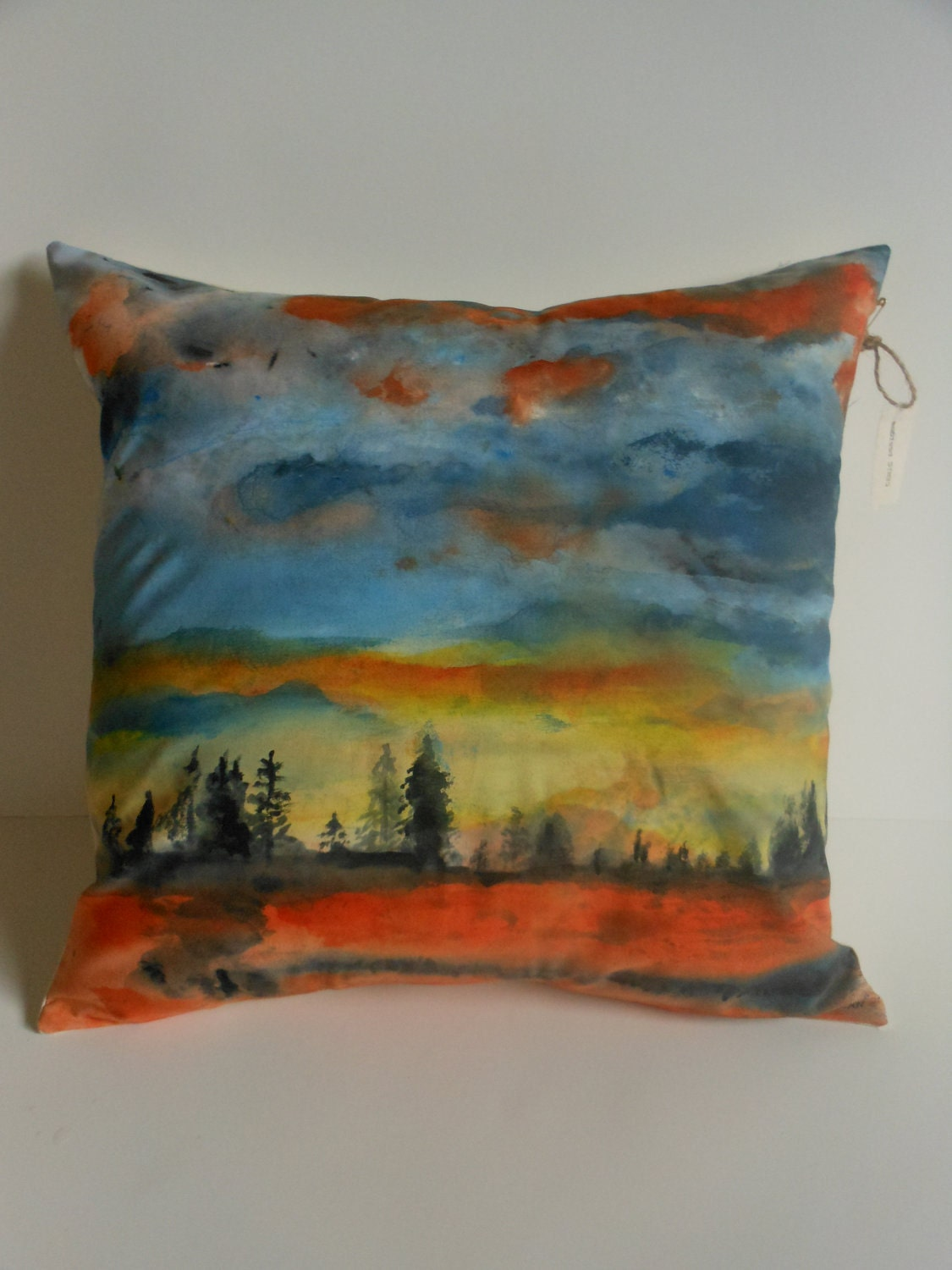 Decorative pillow hand painted abstract landscape home decor for Hand painted pillows