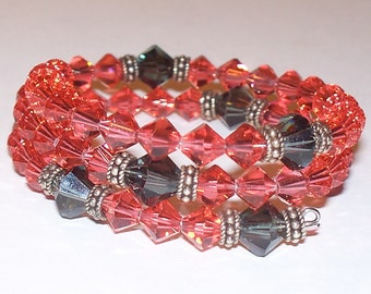 Red & Black Swarovski Crystal Five Decade Rosary Memory Wire Bracelet with Sterling Silver Accents