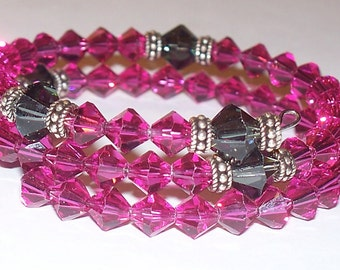 Pink & Black Swarovski Crystal Five Decade Rosary Memory Wire Bracelet with Sterling Silver Accents