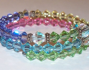 Multi-Color Pastel Swarovski Crystal Five Decade Rosary Memory Wire Bracelet with Sterling Silver Accents