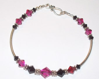 Sterling Silver Pink & Black Swarovski Crystal and Sterling Tube Beaded Single Decade Rosary Bracelet