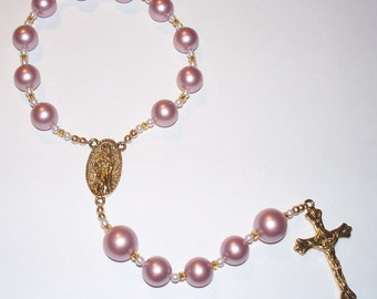 Beautiful Handmade Single Decade Rosary Chaplet - Pink and White Swarovski Pearls, Gold Glass Beads & Gold Tone Accents