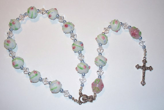 Beautiful Handmade Lampwork Single Decade Rosary Chaplet - White Flowered Lampwork with Clear Swarovski Crystals & Swarovski Pearls
