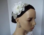 Rhinestone Bridal Hair Comb. White Gardenia Rhinestone Comb / Rebecca