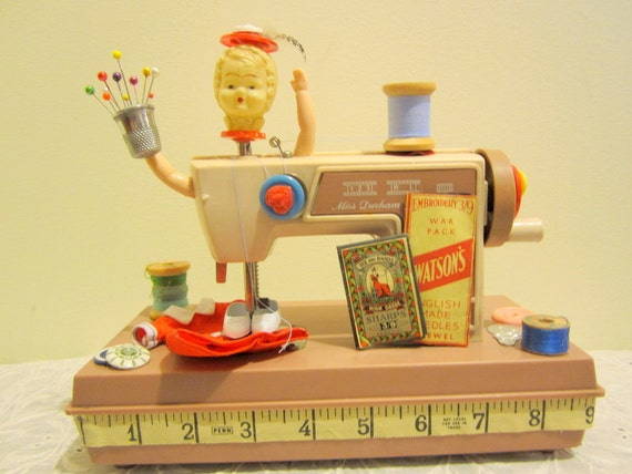 Little Vintage Toy Sewing Machine Assemblage Doll Art