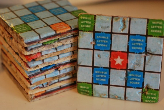Scrabble Board Game Italian Marble Coasters