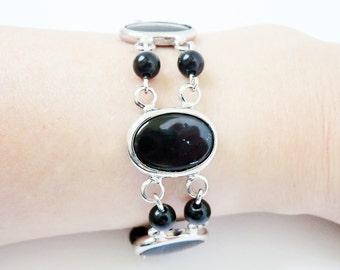 Judy Lee Vintage Black Oval Bracelet with Beads 1970's