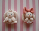 Polymer Clay Bunnies, Mr. and Mrs. Magnets