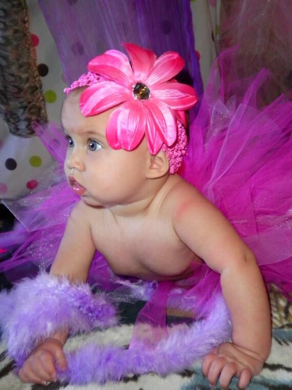 Beautiful Fluffy Pink Tutu with Flower Headband 6-9 months