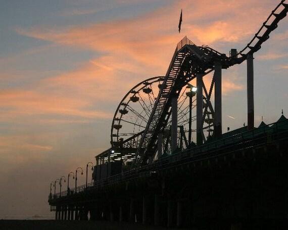 Santa Monica Pier Roller Coaster and Ferris Wheel at Dusk 5x7 Matted