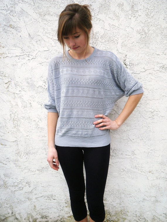 Vintage Grey-Blue Slouch Sweater  - 3/4 length sleeve