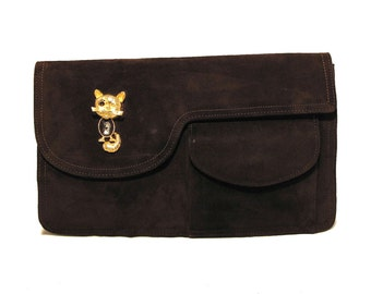 1960s Jole Veneziani Brown Suede Kitty Clutch