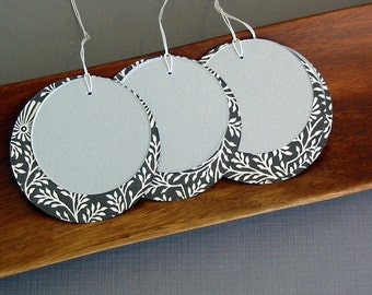 Circle gift tags set of 12 large black and off white with silver gray shimmer