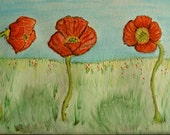 Three Red Poppies, Original Art, Watercolor, set of 8 Note Cards