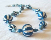 Blue and white African clay necklace with recycled paper beads