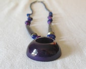 Purple African cow bone pendant necklace with dyed beans and stones