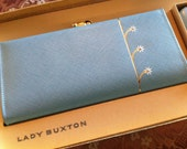 Vintage Lady Buxton Petite Fleur Baby Blue Wallet and Key-Tainer