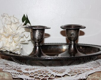 Silver Plate Shabby Candle Holders Vintage