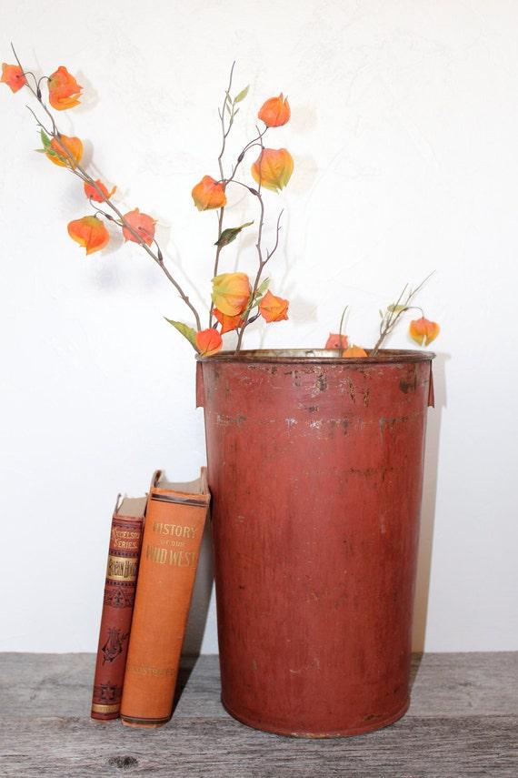 Vintage Painted Metal Maple Syrup Sap Bucket
