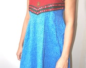 Blue and Red Frock Kurta Tunic Top with Beautiful Handwork