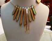 Copper and Gold Fused Glass Bead and Hammered Gold Choker