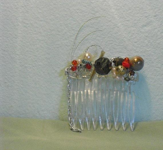 haircomb -jewel bug jail bird OOAK beaded, colorful, wire wrapped