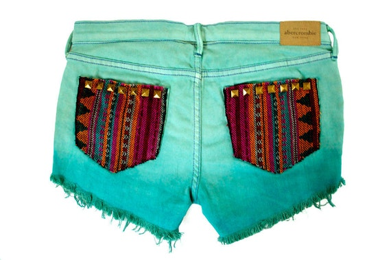 Tribal Aztec Navajo Southwestern Ethnic Print Teal Mint Ombre Dyed Studded Handmade Denim Destroyed Boho Coachella Hipster Cut Offs Shorts